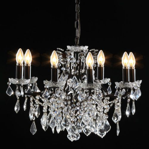 Antique French Cut Glass Bronze Chandelier 8 arms